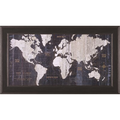 Old World Map Blue by Wild Apple Portfolio Framed Graphic Art