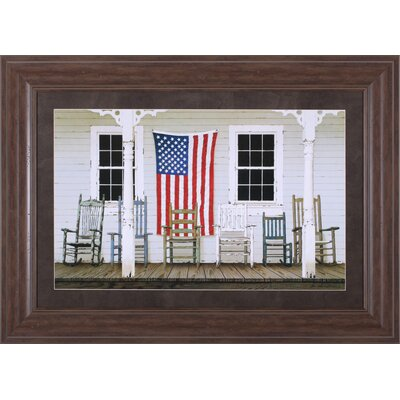 Chair Family With Flag By Zhenhuan Lu Framed Painting Print image