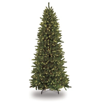 7.5' Green Slim Artificial Christmas Tree with 500 Clear Lights with Stand