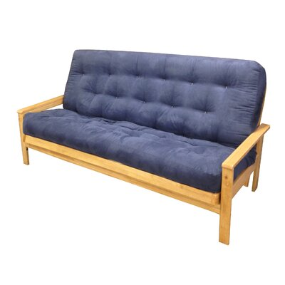 4 Cotton Cotton Loveseat Size Futon Mattress Upholstery: Blue