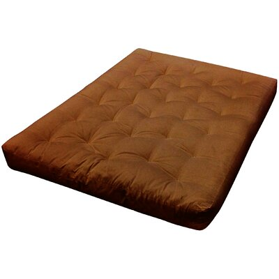 9 Foam and Cotton Futon Mattress Upholstery: Saddle Brown, Size: Queen