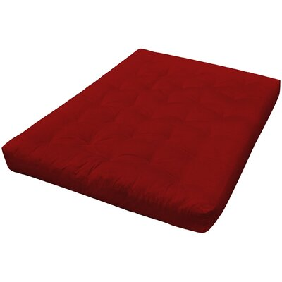 4 Cotton Loveseat Size Futon Mattress Upholstery: Burgundy