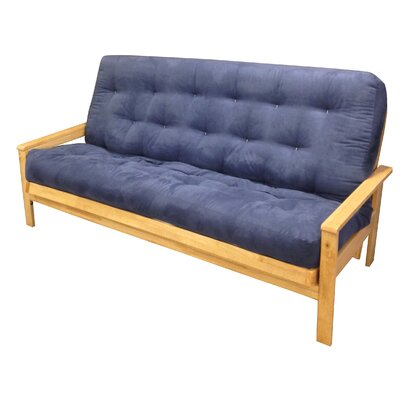 10 Cotton Loveseat Size Futon Mattress Upholstery: Blue