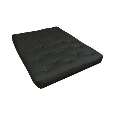 6 Cotton Futon Mattress Mattress Size: Full, Color: Black