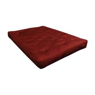 8 Cotton Ottoman Size Futon Mattress Upholstery: Burgundy