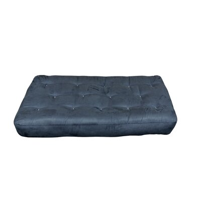 4 Cotton Chair Size Futon Mattress Upholstery: Blue