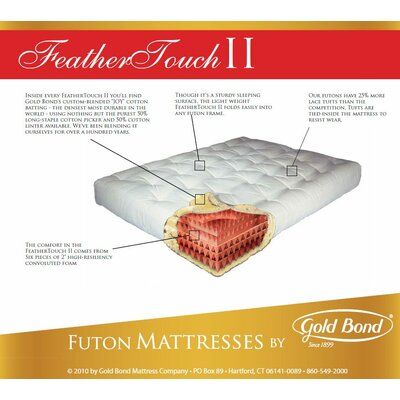 Feather Touch 9 Futon Mattress Size: Queen, Color: Burgundy