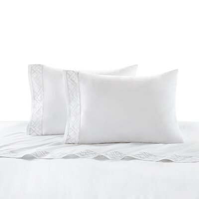 Tsuba Geo 400 Thread Count Cotton Sateen Flat Sheet Size: King