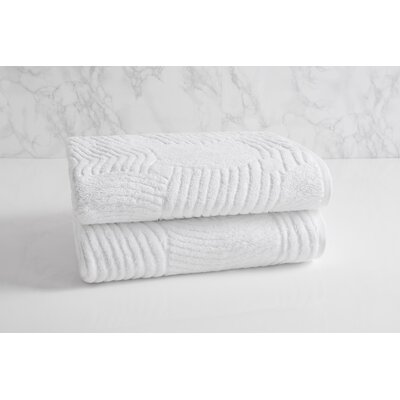 Dynasty Wave Textured Jacquard Bath Towel Color: Frost