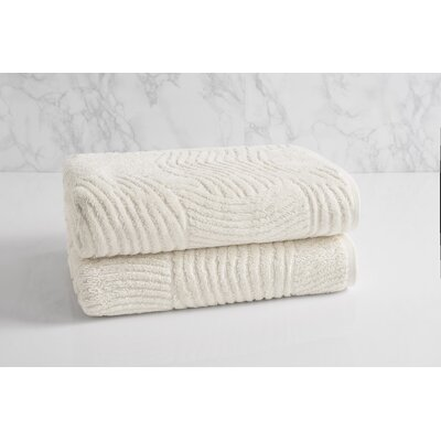 Dynasty Wave Textured Jacquard Bath Towel Color: Chalk