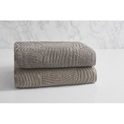 Dynasty Wave Textured Jacquard Bath Towel Color: Cloud