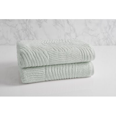 Dynasty Wave Textured Jacquard Bath Towel Color: Porcelain