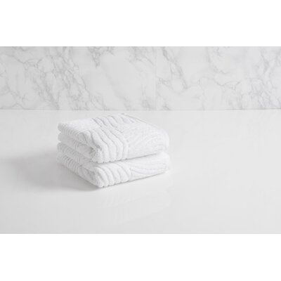Dynasty Wave Textured Jacquard Hand Towel Color: Frost