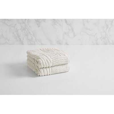 Dynasty Wave Textured Jacquard Hand Towel Color: Chalk