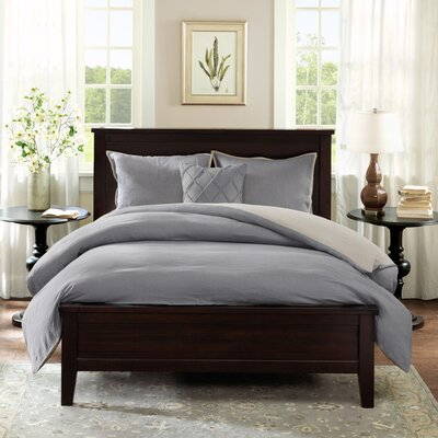 Marlon 3 Piece Reversible Duvet Cover Set Size: Full/Queen, Color: Grey