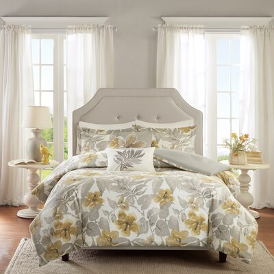 Gabrielle Cotton 5 Piece Duvet Cover Set Size: King