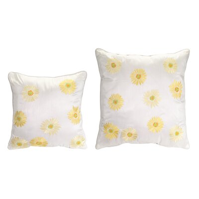2 Piece Embroidered Daisy Throw Pillow Set Color: White/Yellow