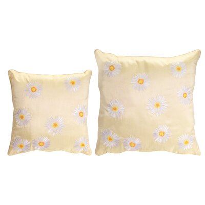 2 Piece Embroidered Daisy Throw Pillow Set Color: Yellow/White