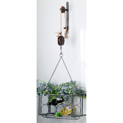 Pulley 8 Bottle Hanging Wine Rack