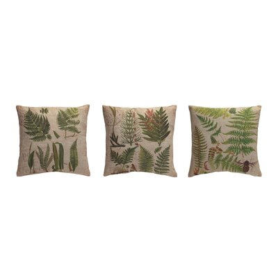 3 Piece Burlap Fern Throw Pillow Set