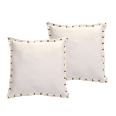 Studded Trim Throw Pillow Color: Ivory
