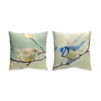 2 Piece Bird Throw Pillow Set