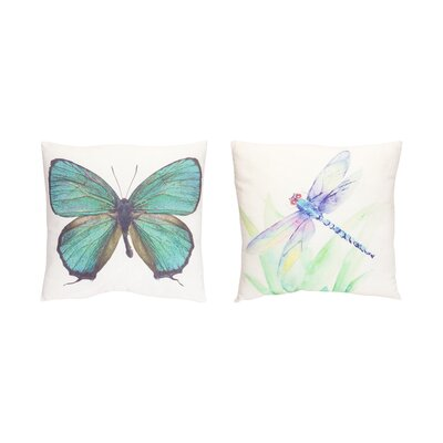 2 Piece Butterfly/Dragonfly Throw Pillow Set
