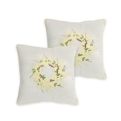 Forsythia Wreath Throw Pillow
