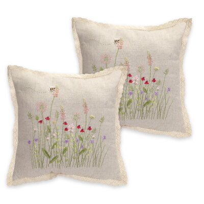 Flower Burlap Throw Pillow