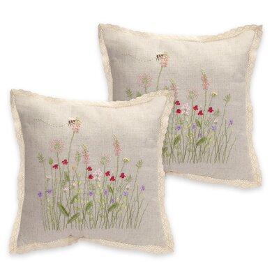 Flower Burlap Throw Pillow 66124
