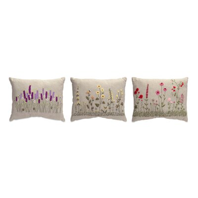 Flower Burlap 3 Piece Lumbar Pillow Set
