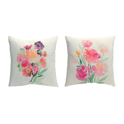 2 Piece Flower Throw Pillow Set