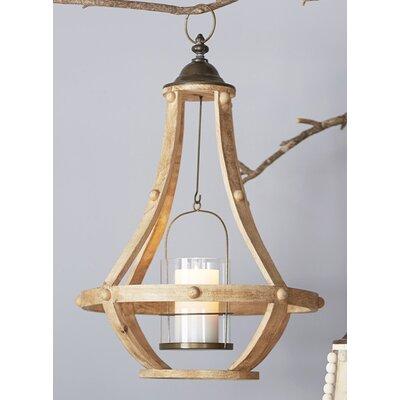 Hanging Wood/Metal/Glass Lantern