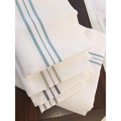 Fairchild Hem Stripe 100% Cotton Sheet Set Color: White/Aegean Blue, Size: Queen