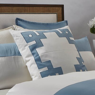 Art of Home Motif Euro Sham Color: Ivory/Sea Blue
