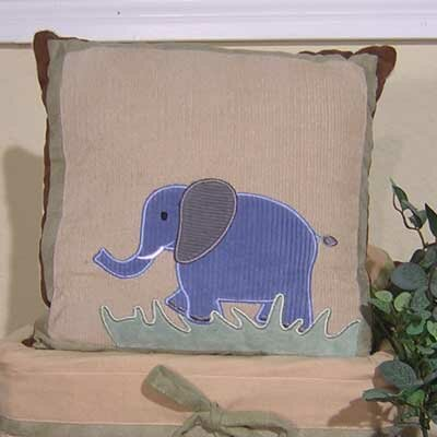 On Safari Elephant Throw Pillow