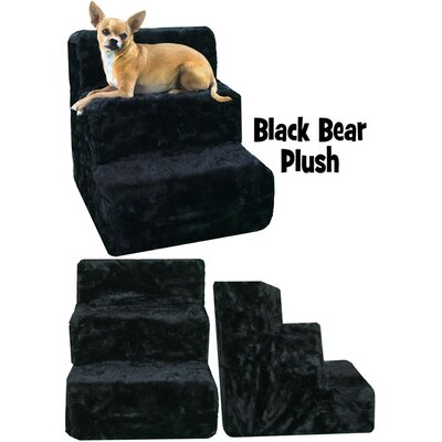 High Density Foam 3 Step Pet Stair Color: Black