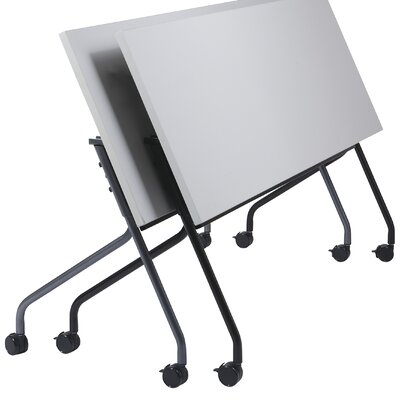 Training Table with Modesty Panel Size: 48 W X 24 D, Base Finish: Black, Tabletop Finish: Cherry