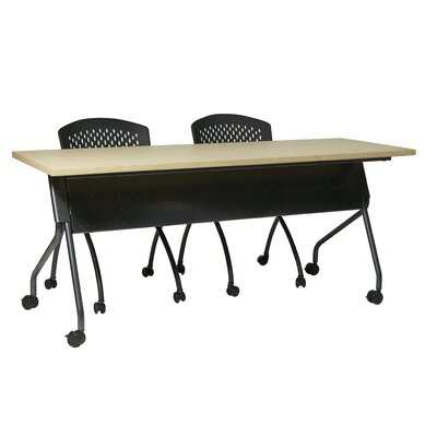 Training Table with Modesty Panel Base Finish: Titanium, Tabletop Finish: Maple, Size: 60 W X 24 D