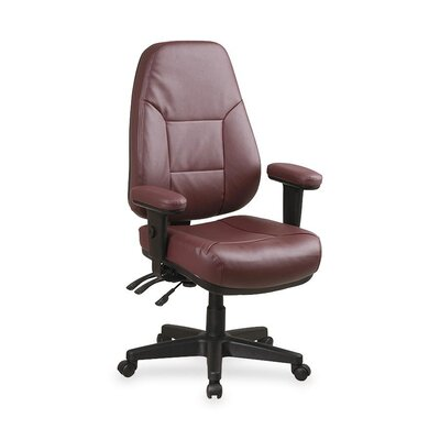 High-Back Leather Desk Chair Upholstery: Burgundy