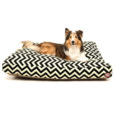 "Zig Zag Rectangle Dog Pillow Size: Medium (44"" L x 36"" W), Color: Black"