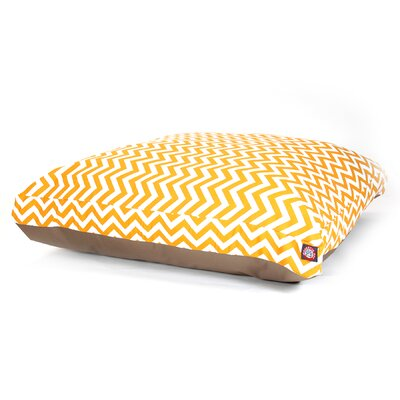"Zig Zag Rectangle Dog Pillow Size: Large (50"" L x 42"" W), Color: Yellow"