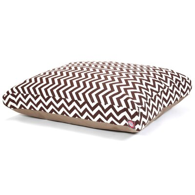 "Zig Zag Rectangle Dog Pillow Size: Medium (44"" L x 36"" W), Color: Chocolate"