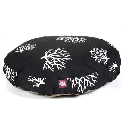 Coral Round Pet Bed Pillow Size: Medium (36 L x 36 W), Color: Black