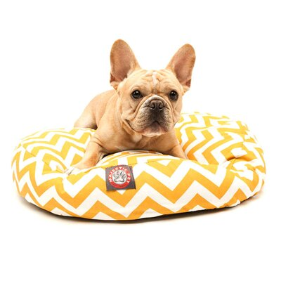 "Zig Zag Round Dog Pillow Size: Small (30"" L x 30"" W), Color: Chocolate"