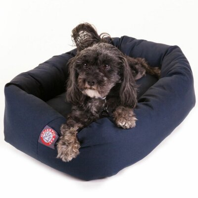 "Bagel Donut Dog Bed Color: Blue, Size: Small (25"" L x 22"" W)"