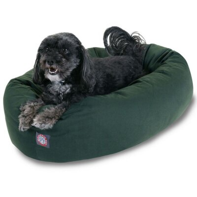 "Bagel Donut Dog Bed Color: Green, Size: Small (25"" L x 22"" W)"