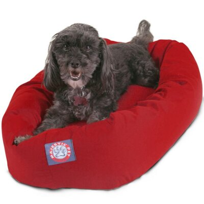 "Bagel Donut Dog Bed Color: Red, Size: Small (25"" L x 22"" W)"