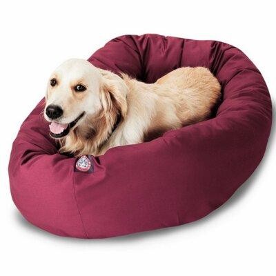 "Bagel Donut Dog Bed Size: Extra Large (52"" L x 36"" W), Color: Burgundy"
