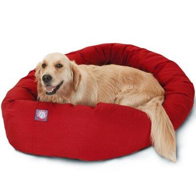"Bagel Donut Dog Bed Size: Medium (32"" L x 28"" W), Color: Red"